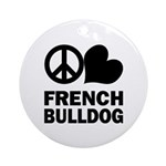 Peace Love French Bulldog Ornament