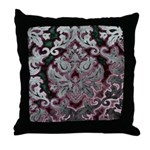 Silver Damask Throw Pillow