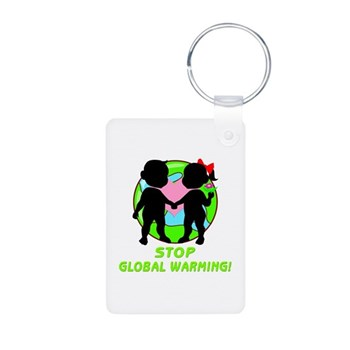 Stop Global Warming Aluminum Photo Keychain
