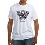 Diabetes Tribal Butterfly Fitted T-Shirt