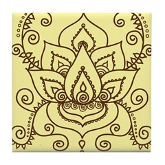lotus henna mehndi cream ceramic tile coaster