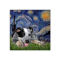 "Starry-AussieCattleDogPup Square Sticker 3"" x 3"""