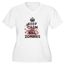 Keep Calm and Kill Zombies Womens Plus Size V-Nec