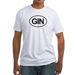 GIN Alcohol Booze Drink Oval Fitted T-Shirt