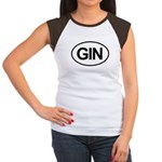 GIN Alcohol Booze Drink Oval Women's Cap Sleeve T-