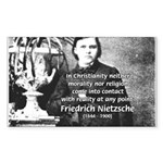 Critic of Religion: Nietzsche Sticker (Rectangular