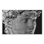 David with Michelangelo Quote Sticker (Rectangular